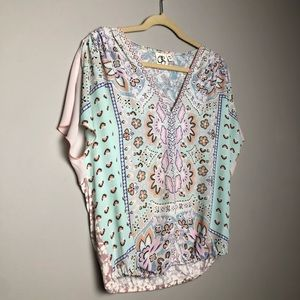 Anthropologie One September pastel paisley blouse